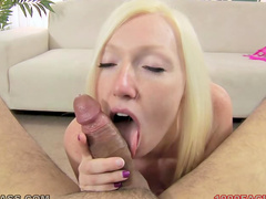 Bleach blonde in sexy bra sucks dick