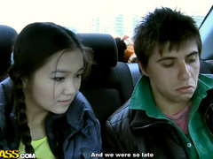 Asian beauty is sucking dick in the car