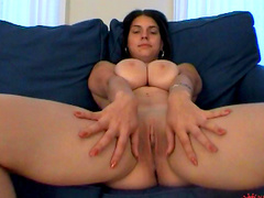 Tanned brunette Liana shows her cute shaved puss