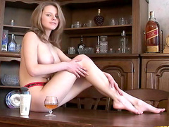 Natural boobs are big on young solo girl