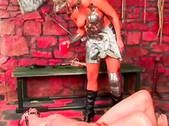 Metal outfit on horny mistress