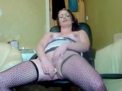 Stockings and boots fatty masturbates