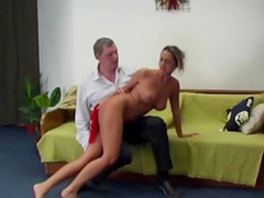 Moans of pain during ass spanking