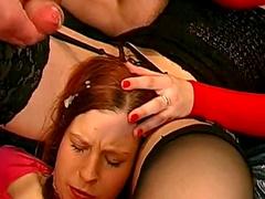 Bukkake video with slutty brunette Anna