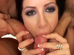 Brunette Taryn Thomas is swallowing tasty sperm
