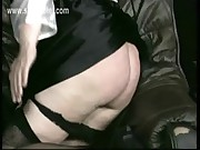 Naughty nun with her skirt up is bending over and is spanked on her ass with hands and wooden stick