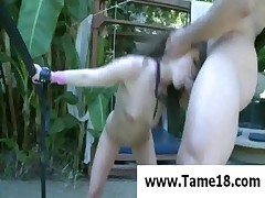 Teenage slave gives head in pool
