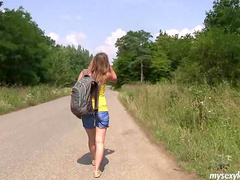 Teen Bella E masturbating in the forest