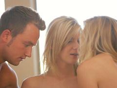 Beautiful slim blondes get banged in steamy threesome