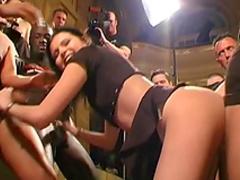Slender brunette Michelle swallows sperm