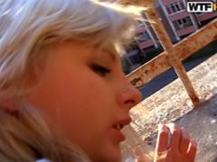 Cock-sucking blonde love to feel black dick