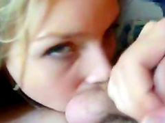 Slutty blonde with nice face is tasting this horny prick