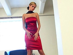 Solo scene with a hot pornstar Zuzana Drabinova in red dress