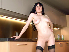 Cute brunette Samantha Bentley is playing with trimmed pussy