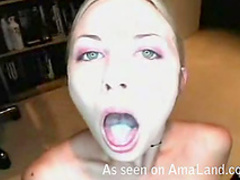 Cumshot sits on her tongue