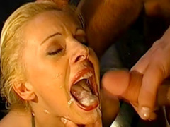 Sweet blonde swallows tasty white sperm
