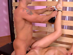 Tied up slave gets a tits torture and sucks cock