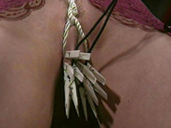 Slave gets tits torture and clothespins in pussy