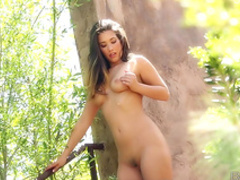 Outstanding solo scene with a slender naked brunette