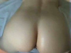 Amateur brunette gets hot creampie