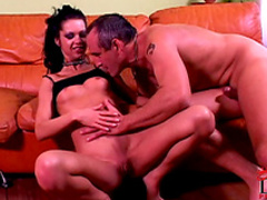 Brunette love to feel dick in her asshole