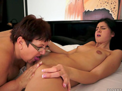 Granny is fucking with young brunette