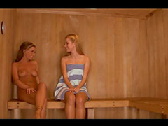 Slim hotties in sauna get it on
