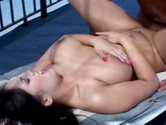 Stunning busty brunette is getting cum in anal