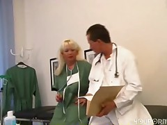 Hot blonde nurse fucked by the doctor -