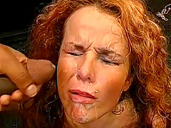 Hardcore redhead is getting cum on her face
