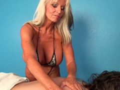 Massage turns nasty along busty mature