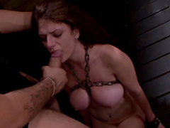Young babe with pigtails is getting face-fucked