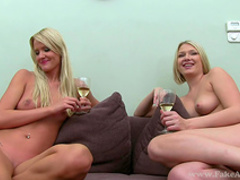 Two blondes with slender bodies are fucking in anal