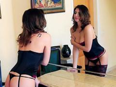 Babe brunette Yasmin Fields shows off her trimmed puss