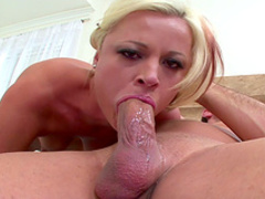 Blonde is sucking this really giant dick
