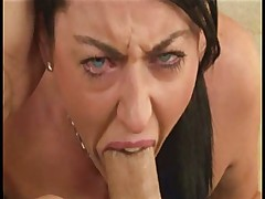 Cute babe deep throats a huge cock