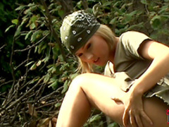 Blonde Zuzana Z shows off her pussy outdoors