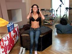 Dark-haired teen is demonstrating her naked shape