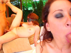Beauties are sharing tasty cumshot