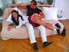 Pigtailed schoolgirl Pokahontas gives a blowjob