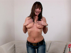 Sexy chick in jeans attends a casting