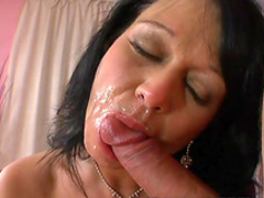 Slutty mature is tasting this cute cock