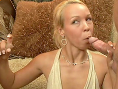 Blonde love to feel cum in her shaved pussy