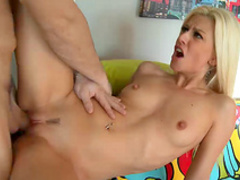 Blonde with small tits shows off blowjob skills