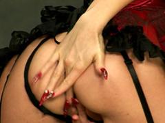 Brunette on high heels Alison Star demonstrated her big tits