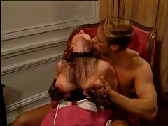 Redhead Babe in Corset blowing and fucking