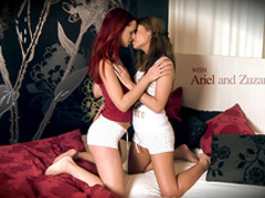 Slender babes are playing with trimmed pussies