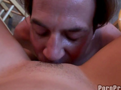 Dark-haired amateur gives a nice blowjob