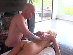 Spicy blonde is riding on the big dick