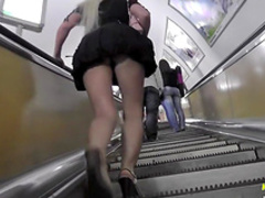 Hardcore blonde in black dress gets an upskirt